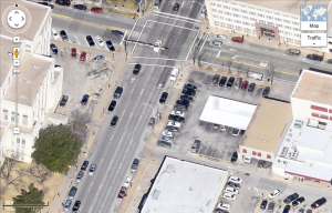 Overhead view of Guadelupe street in front of Travis County courthouse